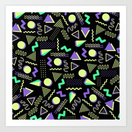Geometrical retro lime green neon purple 80's abstract pattern Art Print