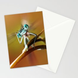 Blue dragonfly on pink flower Stationery Cards