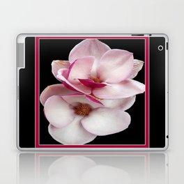 tulip magnolia twins (black bg square) Laptop & iPad Skin