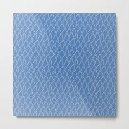 Fishing Net Grey on Blue Metal Print