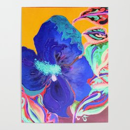 Birthday Acrylic Blue Orange Hibiscus Flower Painting with Red and Green Leaves Poster