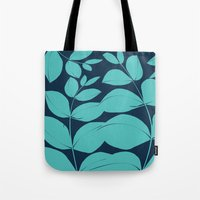 aelwen Tote Bags featuring Aqua Leaves by Aelwen