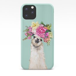 Flower Crown Llama in Green iPhone Case