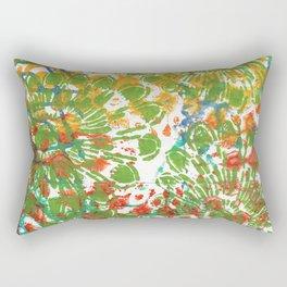 Green Flowers Rectangular Pillow