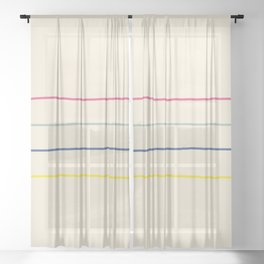 Abstract Retro Lines #1 Sheer Curtain