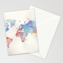 Watercolour world map Stationery Cards