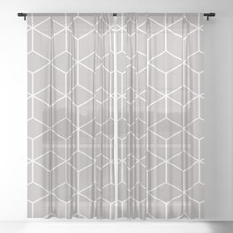 Cube Geometric 03 Grey Sheer Curtain