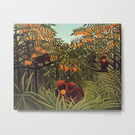 Apes in the Orange Grove by Henri Rousseau 1910 // Colorful Jungle Animal Landscape Scene Metal Print