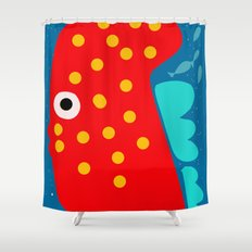 Red Fish illustration for kids Shower Curtain