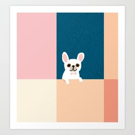 Little_French_Bulldog_Love_Minimalism_001 Art Print