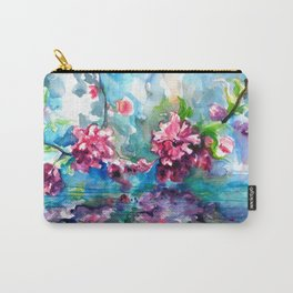 CHERRY TREE MIRRORING IN THE WATER - WATERCOLOR Carry-All Pouch