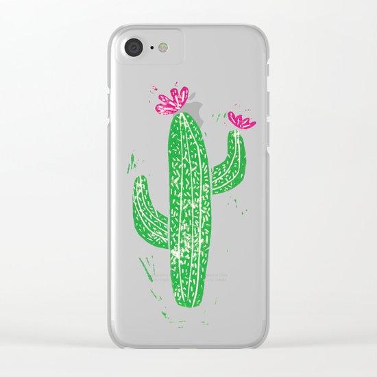 Linocut Cacti #2 Clear iPhone Case