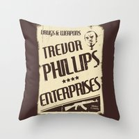 gta Throw Pillows featuring GTA Trevor Phillips Enterprises by Spyck
