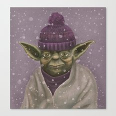 Christmas Yoda (fiolet) Canvas Print