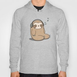 Kawaii Cute Sloth Listening To Music Hoody