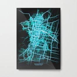 Mendoza, Argentina, Blue, White, Neon, Glow, City, Map Metal Print