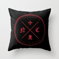 nightcrawler Throw Pillows featuring Nightcrawler Logo by Nightcrawlerstuff