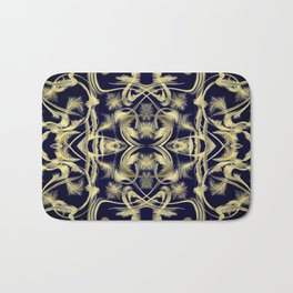 dark blue Digital pattern with circles and fractals artfully colored design for house and fashion Bath Mat