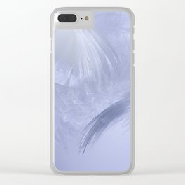 White fluffy feathers blue tone Clear iPhone Case