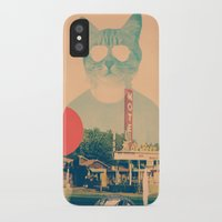 brown iPhone & iPod Cases featuring Cool Cat by Ali GULEC