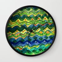 green pattern Wall Clocks featuring Green pattern by Nato Gomes