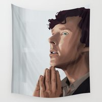 sherlock holmes Wall Tapestries featuring sherlock holmes by elyinspira