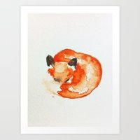 nursery Art Prints featuring fox by carrie booth