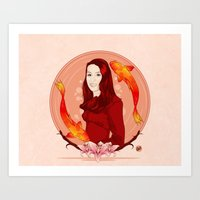 pisces Art Prints featuring Pisces by Vanesa Abati