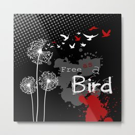 Trash Polka Dandelions Blow Into Birds Metal Print
