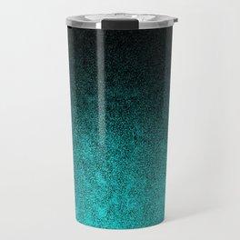 Aqua & Black Glitter Gradient Travel Mug
