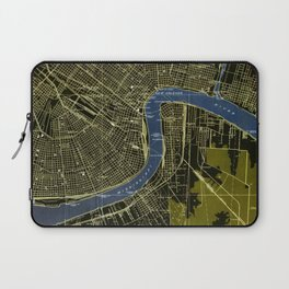 New Orleans Louisiana 1932 GREEN AND BLUE VINTAGE OLD MAP Laptop Sleeve