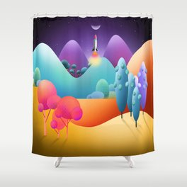 To The Moon Alice Shower Curtain