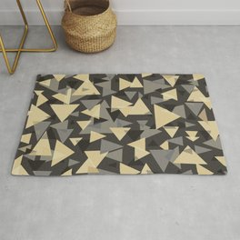 The dark side, mix of elegant abstract chaotic triangles scattered in all directions pattern  Rug