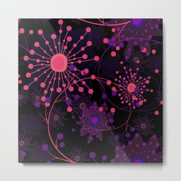 Pink fireworks . Abstract pattern . Metal Print