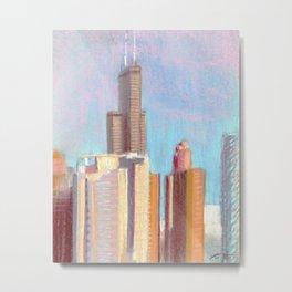 October Sunset: Chicago Skyline Metal Print