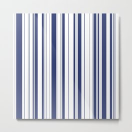 Minimalist Era - White & Indigo Blue Stripe Asymmetrical Metal Print