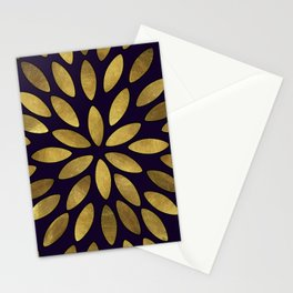 Classic Golden Flower Leaves Pattern Stationery Cards