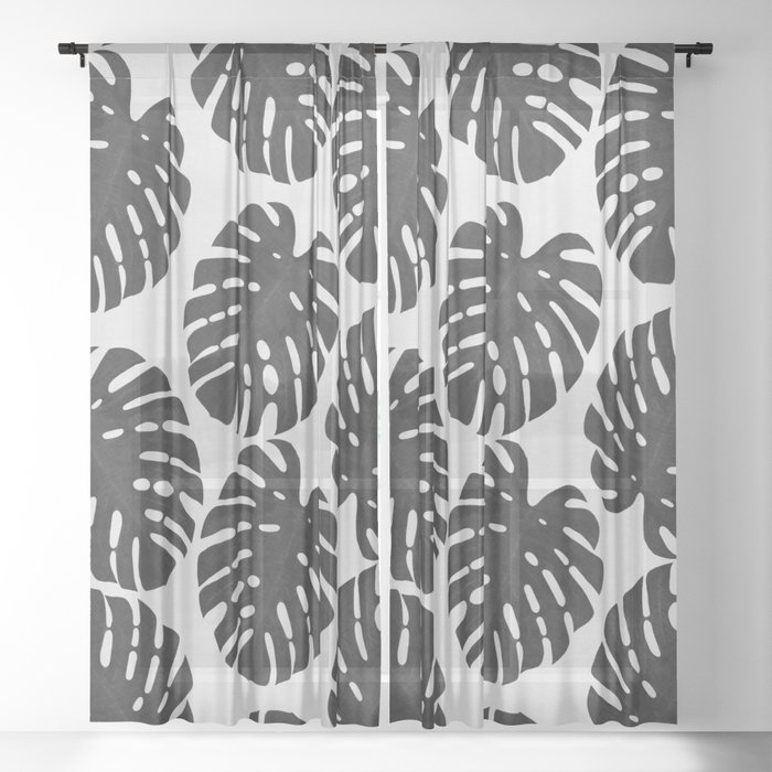 Monstera Black & White III Sheer Curtain