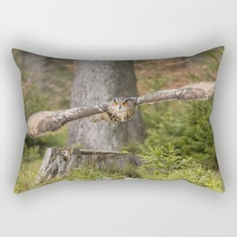 Eagle Owl In Flight. Rectangular Pillow