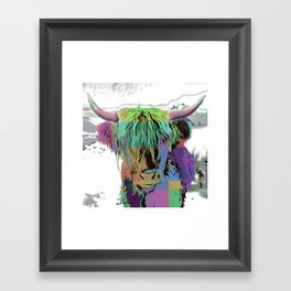 Highland Longhorn Tartan Cow Framed Art Print