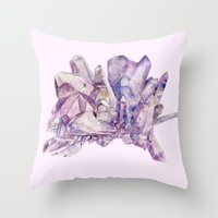 crystals Throw Pillows featuring Crystals by my first palette