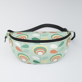 Retro peacock eyes on minty green Fanny Pack