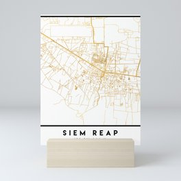 SIEM REAP CAMBODIA CITY STREET MAP ART Mini Art Print