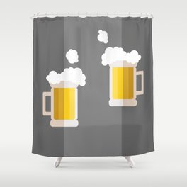Two beer mug making a toast Shower Curtain