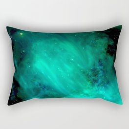 Teal Blue Indigo Sky, Stars, Space, Universe, Photography Rectangular Pillow