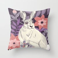 hare Throw Pillows featuring Hare by Abbie Imagine