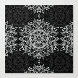 Boho style white mandala over black Canvas Print
