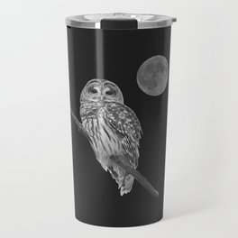 Owl, See the Moon (bw) Travel Mug