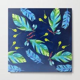 Watercolour Feathers - Indigo Metal Print