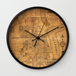 Map Of Omaha 1878 Wall Clock